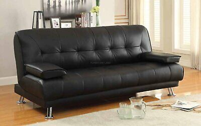 £179 • Buy Faux Leather Sofa Bed Black Pull Out Recliner 3 Seater Luxury Modest Design