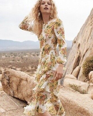 New Authentic Zimmermann Golden Tiered Ruffle Floral Print Midi Dress AU 0 1 2 • 279.97$