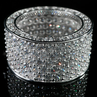 $24.99 • Buy 18K White Gold 11mm Out Iced Lab Diamond Silver ETERNITY Wedding Band Mens Ring