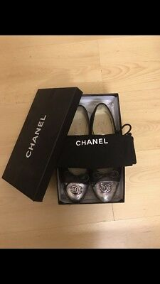 £249 • Buy Classic Chanel Ballet Flats -  Size 5.5. Seasonal Pair, With Silver.