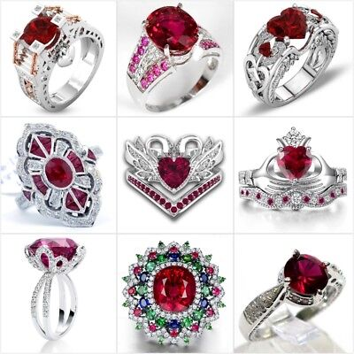 £1.99 • Buy Gorgeous Silver Red Ruby White Sapphire Ring Women Wedding Bridal Jewelry Sz6-10