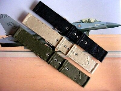 $13.50 • Buy NATO ® 2pc WWII Canvas Military Army Watch Band Field Strap Chrome IW SUISSE USA