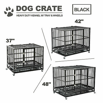 $139.99 • Buy 37 /42 /48   Dog Crate Large Kennel Pet Cage Heavy Duty W/Tray & Wheels Black