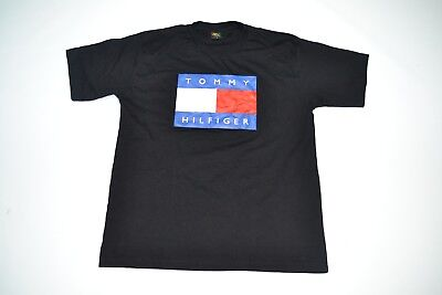 d094404dc VTG Tommy Hilfiger Big Flag Black T Shirt Vintage Tee 80s 90s Hip Hop  Fashion •