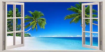 3D Window Effect On Canvas Tropical Palm Beach Tree Sea Holiday Picture Wall Art • 39.99£