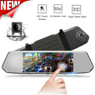 View Details TOGUARD 1080P Dual Lens Mirror DashCam 7  IPS Touch Screen Rear View Car Camera • 35.99£