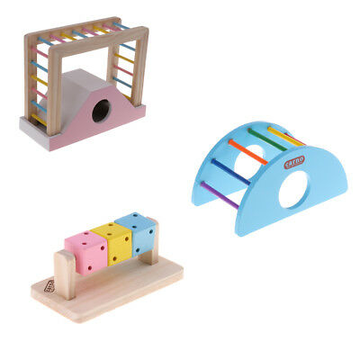 Hamster Mouse Rat Toy Wooden Ladder Rainbow Play Bridge Exercise Toys • 4.35£