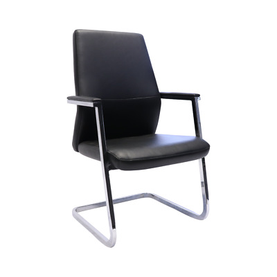 AU325 • Buy *BRAND NEW* Black PU Leather Medium Back Executive Visitor Chair Cantilever Base