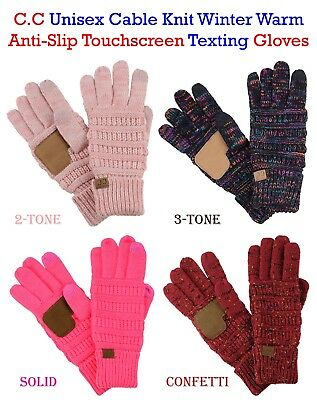 £9.55 • Buy C.C Gloves Unisex Cable Knit Winter Warm Anti-Slip Touchscreen Texting CC Gloves