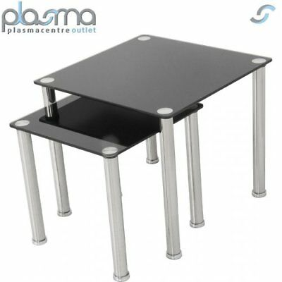 AVF T32 Glass 2 Nesting Tables - Black • 49.99£