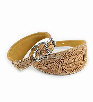 Premium Natural Hand Carved Leather Whippet Greyhound Saluki Lurcher Dog Collar • 17.99£
