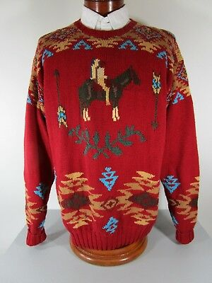 122c01243 Vintage POLO COUNTRY RALPH LAUREN HAND KNIT Red Indian Southwest Sweater  Size XL • 295.00
