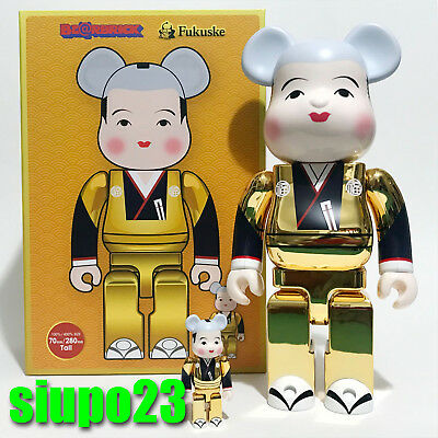 $199.99 • Buy Medicom 400% + 100% Bearbrick ~ Fukuske Be@rbrick Gold Version