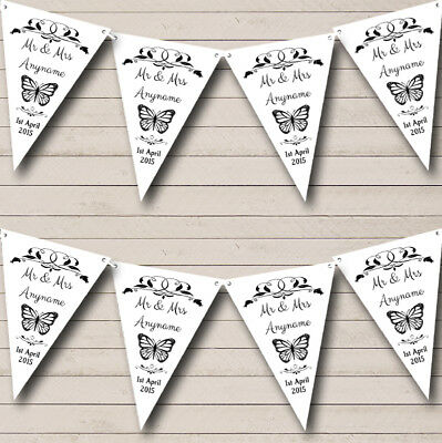 Party Banner Bunting Butterfly White Black Personalised Wedding Anniversary • 7.29£