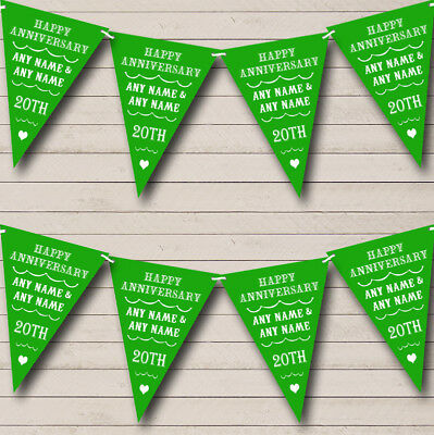 Party Banner Bunting Vintage Text Any Year Green Wedding Anniversary • 4.49£