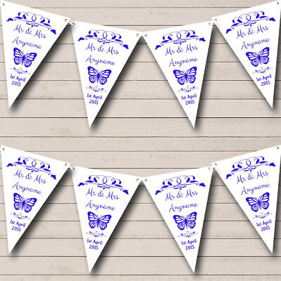 Party Banner Bunting Butterfly Blue Personalised Wedding Anniversary • 7.29£