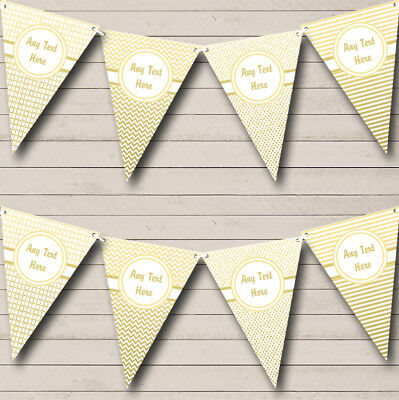 Party Banner Bunting Elegant White And Gold Personalised Wedding Anniversary • 4.49£