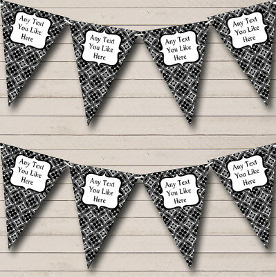 Party Banner Bunting Black And White Personalised Wedding Anniversary • 5.99£