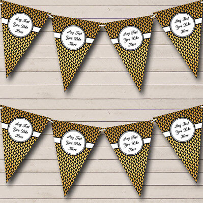 Party Banner Bunting Diamond Pattern Black And Gold Wedding Anniversary • 7.29£