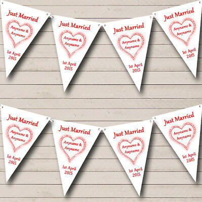 Party Banner Bunting Red And White Just Married Wedding Venue Or Reception • 5.99£