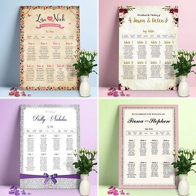 £39.99 • Buy Personalised Wedding Seating Plan •  Planner • Table Plans • Seating Charts
