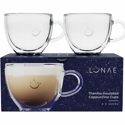 Cappuccino Cups, Double Walled Coffee Glasses, Set Of 2 X 250ml By Lunae • 19.95£