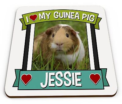Personalised I Love My Guinea Pig Cute Novelty Gift Glossy Mug Coaster • 3.49£
