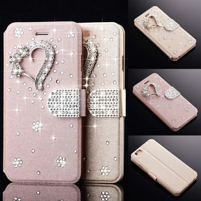Sparkly Bling Diamond 3D Heart PU Leather Wallet Flip Case Card Slot Phone Cover • 4.99£