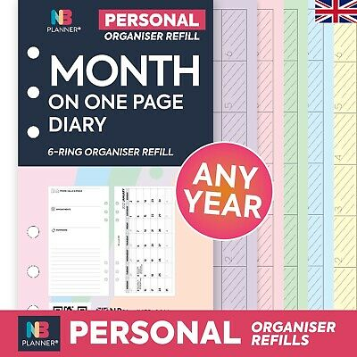 2021 Filofax Personal COMPATIBLE Month On One Page Diary Organiser Refill Insert • 3.98£