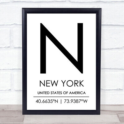 New York United States Of America Coordinates Travel Quote Wall Art Print • 8.95£