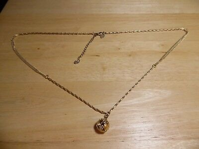 $ CDN12.13 • Buy Lia Sophia Gold Chain Link Necklace With Rhinestone Ball 29  Long, Excellent