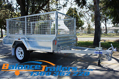 AU1800 • Buy 7x4 Hot Dip Galvanised Fully Welded Tipper Box Trailer With 600mm Removable Cage