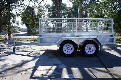 AU3350 • Buy 9x5 Hot Dip Galvanised Fully Welded Tandem Trailer With 600mm Removable Cage