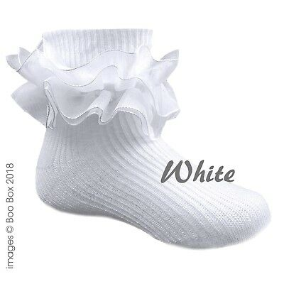 £3.29 • Buy Baby Girls Turn Over Ankle Socks Double Frill White Organza Frilly Newborn-2Y
