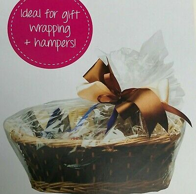 £4.99 • Buy 6 X CLEAR HAMPER BASKET Gift Cake CELLOPHANE DISPLAY BAG With Tie CHRISTMAS