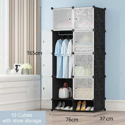 AU39.99 • Buy DIY 10 15 20 Cube Storage Cabinet Wardrobe Shoe Rack Toy Shelves Compartment