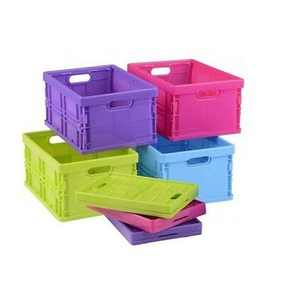 Folding Basket Crate Storage Items Handles Home Store Colourful • 7.99£