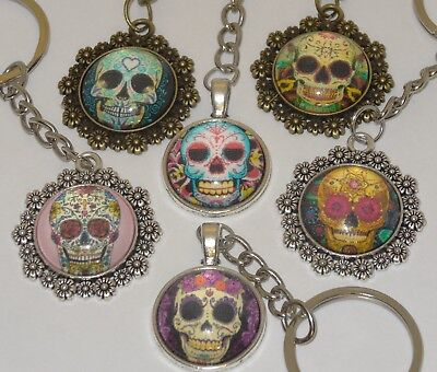 Mexican Candy Sugar Skull Keyring Evil Zombie Day Of The Dead Emo Gothic Kitsch • 2.49£