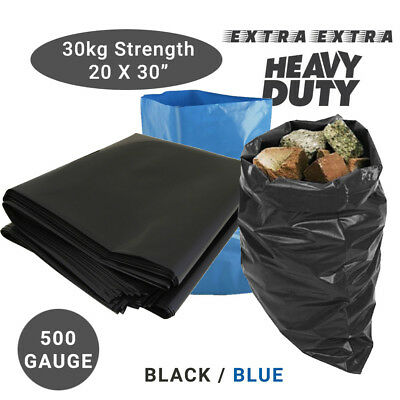 £12.99 • Buy Extra Strong Heavy Duty Black Or Blue Rubble Sacks High Strength Bags 30KG +