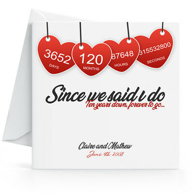 Personalised 10th Wedding Anniversary Card - Printed Hearts Wife Husband Tenth • 3.45£