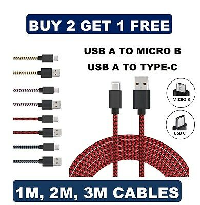Heavyduty Braided Fast Charge USB C Type C Data Phone Charger Cable Kabel 2m 3m • 2.65£