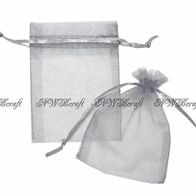 £1.79 • Buy Silver Grey Organza Gift Favour Bags Wedding Jewellery Drawstring Pouches