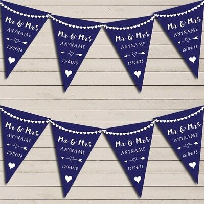 Heart Mr & Mrs Navy Blue Wedding Day Married Bunting Party Banner • 7.29£