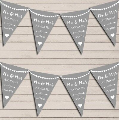 Heart Mr & Mrs Light Silver Grey Wedding Day Married Bunting Party Banner • 7.29£