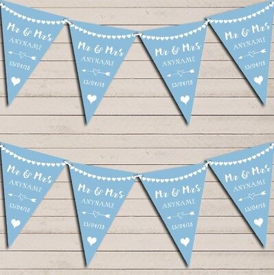 Heart Mr & Mrs Baby Blue Wedding Day Married Bunting Party Banner • 5.99£