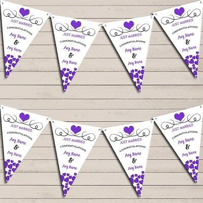 Hearts Party Decoration Just Married Purple Wedding Day Bunting Party Banner • 7.29£