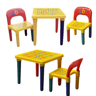 ABC Alphabet Children Plastic Table And Chair Set Gift - Kids Toddlers Child UK • 20.88£