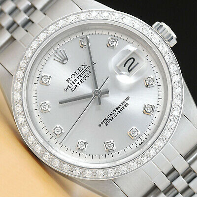 $ CDN6185.85 • Buy Mens Rolex Diamond Datejust 18k White Gold Stainless Steel Silver Dial Watch