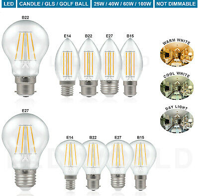 Clear Candle E14 Bulbs Small Screw 25W 40W 60W GLS Golf Ball Filament Lamp LED • 7.99£