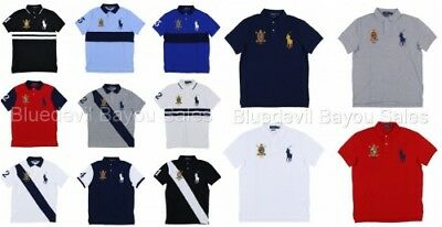 3f47936fa3cda Polo Ralph Lauren Big Pony Custom Slim Fit Polo Shirt Mesh Knit Crest Logo  New •